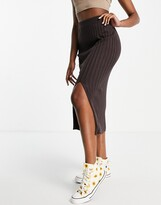 Thumbnail for your product : Monki Loa ecovero ribbed midi skirt in brown