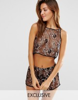 Wolfwhistle Wolf & Whistle Rose Gold Lace Short Pajama Set