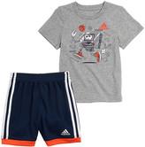 adidas Boys' Active Shorts GREY/NAVY - Gray & Navy Graphic Tee & Shorts - Toddler