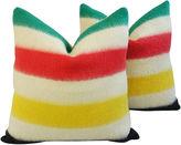 One Kings Lane Vintage Hudson's Bay Camp Blanket Pillows, Pair