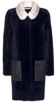 Inès & Marèchal Absinthe Dorena Shearling Coat With Mink Collar
