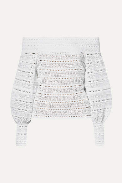 White Crocheted Sweater Shopstyle