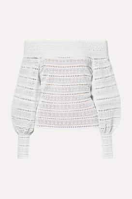Oscar de la Renta Off-the-shoulder Stretch-crochet Top - White