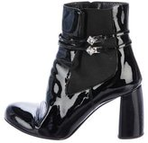 Miu Miu Jewel-Embellished Patent Leather Ankle Boots