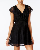 Trixxi Juniors' Ruffle Lace Wrap Dress