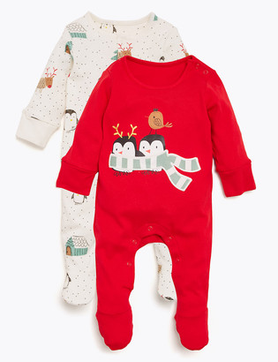 Marks and Spencer 2pk Pure Cotton Christmas Sleepsuits (0-18 Mths)