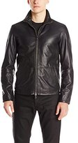 John Varvatos Men's Zip Front Leather Jacket
