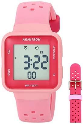 Armitron Sport Women's Digital Chronograph Light Pink and Dark Pink Interchangeable Silicone Strap Watch