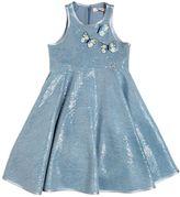 Miss Blumarine Sequined Chambray Dress W/ Butterflies