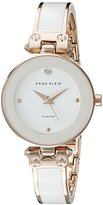 Anne Klein Women's AK/1980WTRG Diamond-Accented Dial White and Rose Gold-Tone Bangle Watch