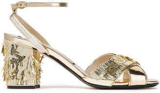N°21 N21 Sequin-embellished Metallic Leather Sandals