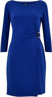 Wallis PETITE Blue Buckle Ruched Side Dress