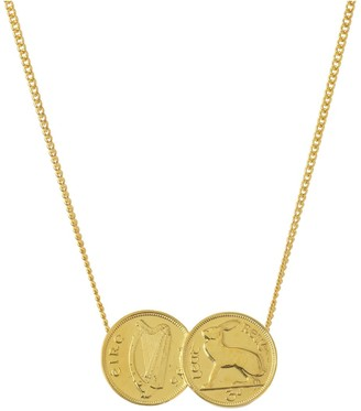 Katie Mullally 3D Double Irish Coin Necklace In Yellow Gold Plate