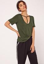 Missguided T Bar Harness Front T Shirt Khaki