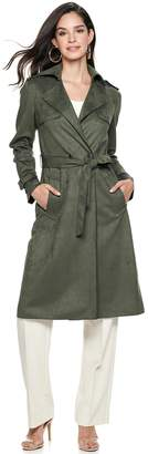 Nine West Women's Belted Faux-Suede Trench Coat