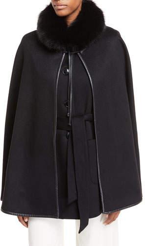 Sofia Cashmere Cashmere Vest & Detachable Cape w/ Fur Collar