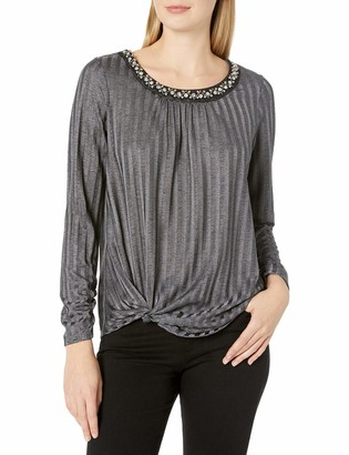 Amy Byer Women's Slinky Rib Pullover Top