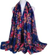 Alysee Women Fashionable Voile Print Floral Long Scarf Shawl Wrap Color
