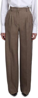 Fendi Wool-Silk Wide-Leg Pants w/ Leather Tuxedo Stripe