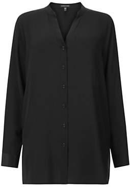 Eileen Fisher Stand Collar Silk Shirt