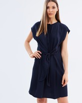 Warehouse Tie Front Casual Shirt Dress