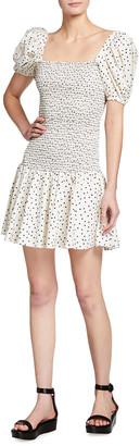 Tanya Taylor Eden Polka Dot Puff-Sleeve Smocked Dress