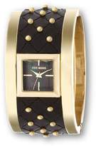 Steve Madden Square Dial Goldtone-Studded Black Quilted Leather Bangle Watch