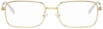 Bottega Veneta Gold Metal Rectangular Glasses