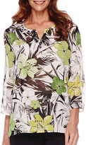 Alfred Dunner Sao Paolo 3/4-Sleeve Tropical Print Tunic