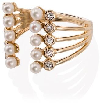 Dana Rebecca Designs 14kt Gold Diamond And Pearl Open Ring
