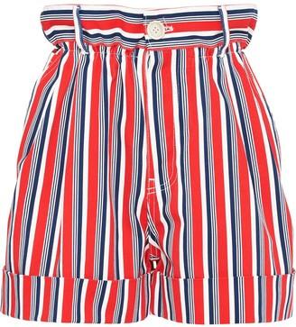 Miu Miu Striped Gathered Denim Shorts