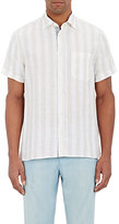 Luciano Barbera MEN'S CABANA-STRIPED SHIRT-WHITE SIZE M