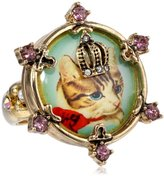 "Betsey Johnson Vintage Kitty"" Cameo Stretch Ring, Size 7.5"