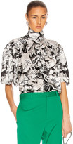 Balenciaga Short Sleeve Magazine Scarf Blouse in Black & White | FWRD