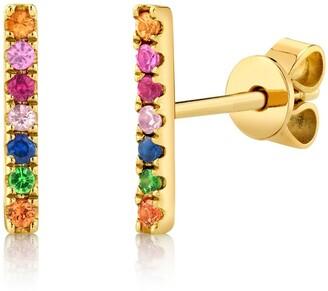 Ron Hami 14K Yellow Gold Diamond Rainbow Bar Stud Earrings - 0.02 ctw