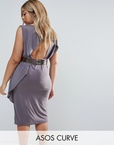 Asos Drape Open Back Midi Dress With Metallic Belt