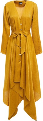 Just Cavalli Asymmetric Belted Crinkled Satin-crepe Shirt Dress