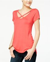 Ultra Flirt Juniors' Strappy Scoop-Neck T-Shirt