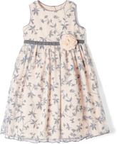 Laura Ashley Gray & Peach Floral A-Line Dress - Infant Toddler & Girls