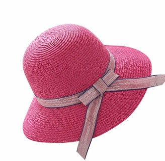ASHOP Ladies Summer Sun Hats Women Panama Straw Beach Hats Foldable (Hot Pink)