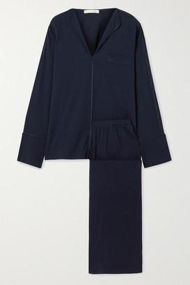 Skin Ondrea Satin-trimmed Pima Cotton-jersey Pajama Set - Midnight blue