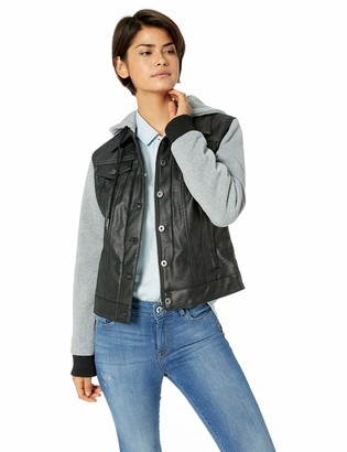 Levi's Women's Mixed Media Faux Leather Hooded Trucker Jacket