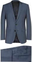 Hugo Boss - Blue Slim-fit Virgin Wool And Mohair-blend Sharkskin Suit