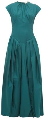 KHAITE Rita Puffed Skirt Cotton Twill Maxi Dress - Womens - Green