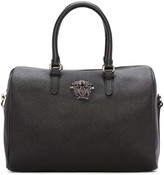 Versace Black Faux Leather Duffle Bag