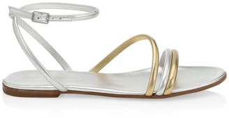 Gianvito Rossi Bekah Flat Metallic Leather Sandals