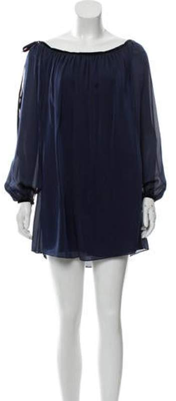 Azzaro Silk Tunic Top Navy Silk Tunic Top