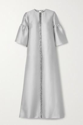 Reem Acra Embellished Satin-pique Gown - Silver