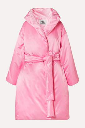 Balenciaga Oversized Belted Padded Satin-shell Coat - Pink