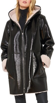 Sanctuary Faux Shearling Lined Patent Leather Coat